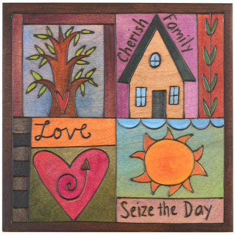Sticks Plaque Quilt Style PLQ001-D75231, Artistic Artisan Designer Plaques Wall Art With Inspiration Words, Phrases, and Sayings