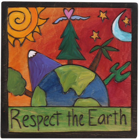 Sticks Respect the Earth Plaque PLQ001-S310034, Artistic Artisan Designer Plaques Wall Art With Inspiration Words, Phrases, and Sayings