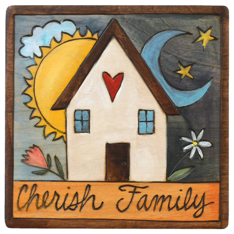 Sticks Plaque Cherish Family PLQ001-D73913, Artistic Artisan Designer Plaques Wall Art With Inspiration Words, Phrases, and Sayings