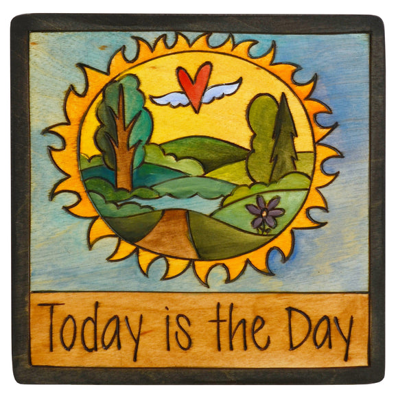Sticks Plaque Today is the Day PLQ001-D700410, Artistic Artisan Designer Plaques Wall Art With Inspiration Words, Phrases, and Sayings