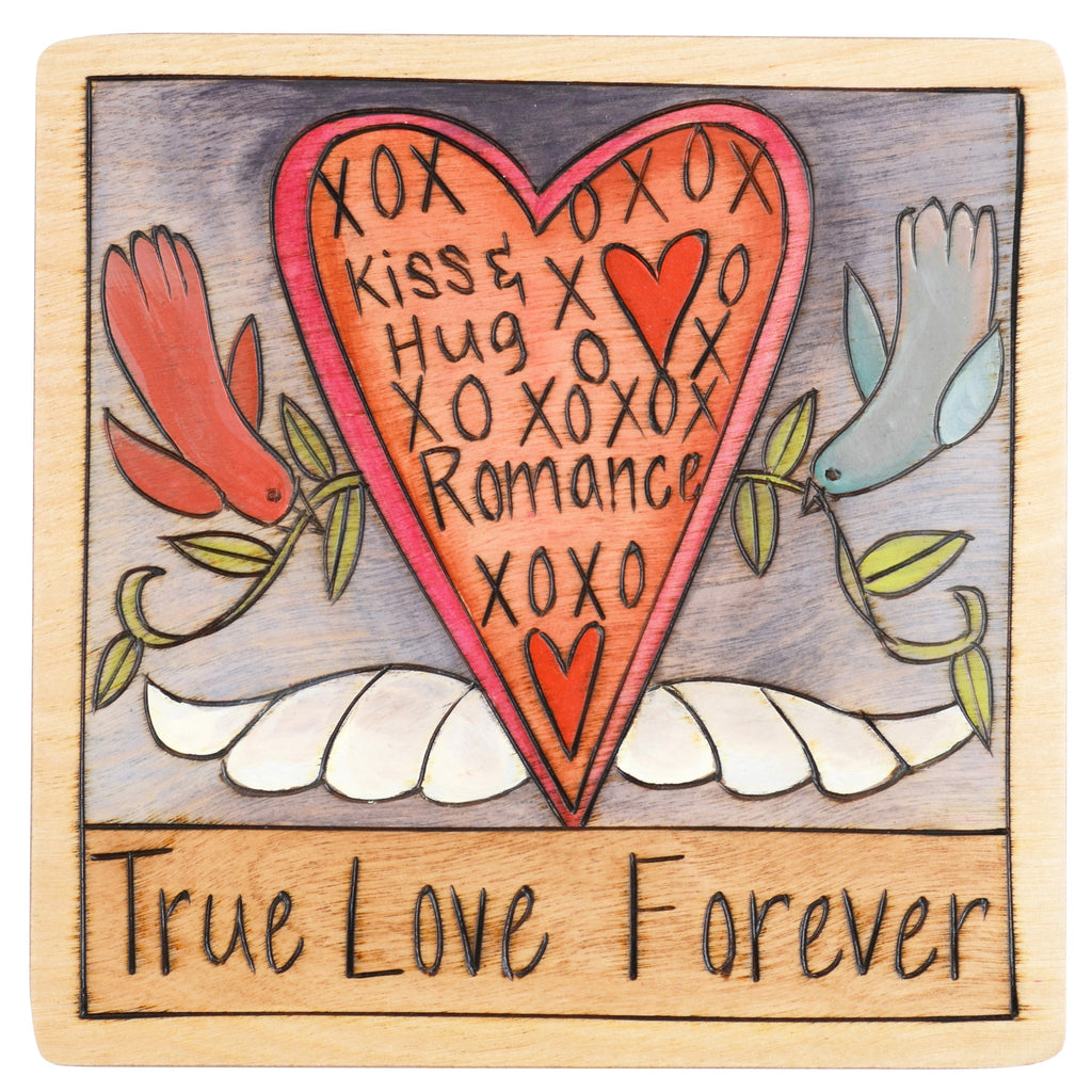 Sticks Plaque True Love Forever PLQ001, PLQ010-D70065, Artistic Artisan Designer Plaques Wall Art With Inspiration Words, Phrases, and Sayings