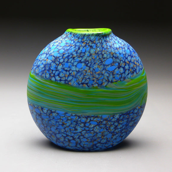 Strata Series in Blue Handblown Glass Vase by Thomas Spake Studios Artisan Handblown Art Glass Vases