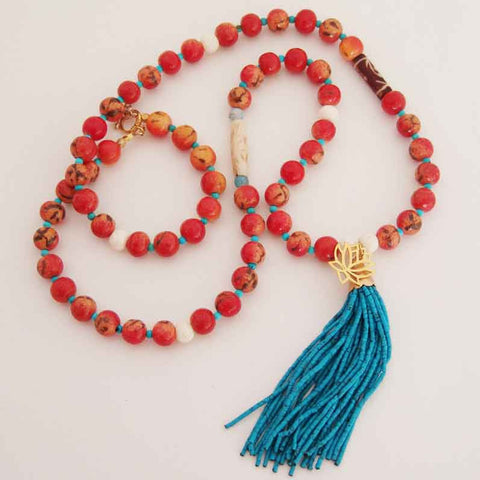 Coral, Limestone and Turquoise Necklace 848 by Susan Anderson