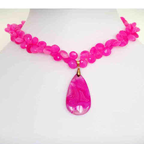Susan Anderson Hot Pink Chalcedony and Quartz Necklace 854, Artistic Artisan Designer Jewelry