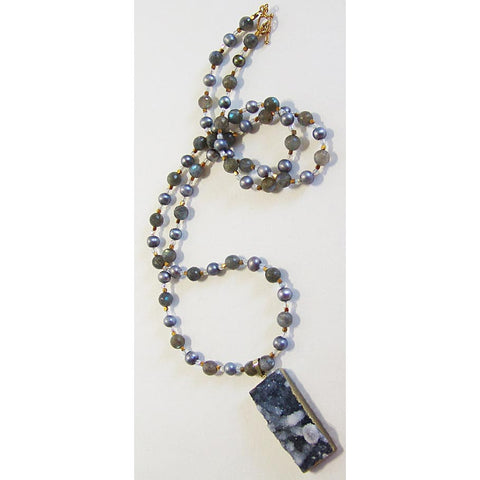 Susan Anderson Labradorite Grey Pearl and Druze Quartz Pendant Necklace 926