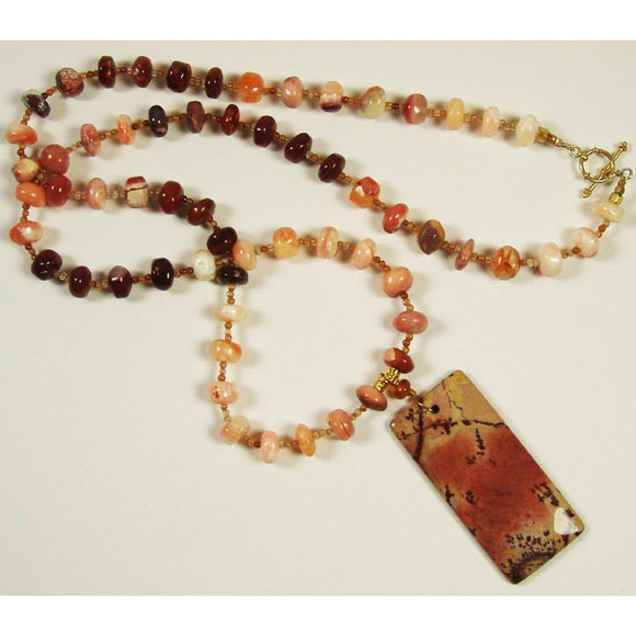 Susan Anderson Mexican Fire Opal and Jasper Pendant Necklace 823