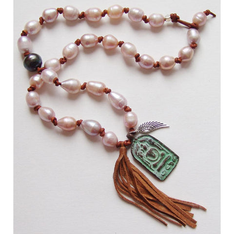 Susan Anderson Pearl Leather and Vintage Tibetan Pendant Necklace 886