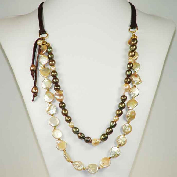 Susan Anderson Pearl and Leather Necklace 817, Artistic Artisan Designer Jewelry