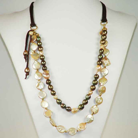 Pearl and Leather Necklace 817 by Susan Anderson