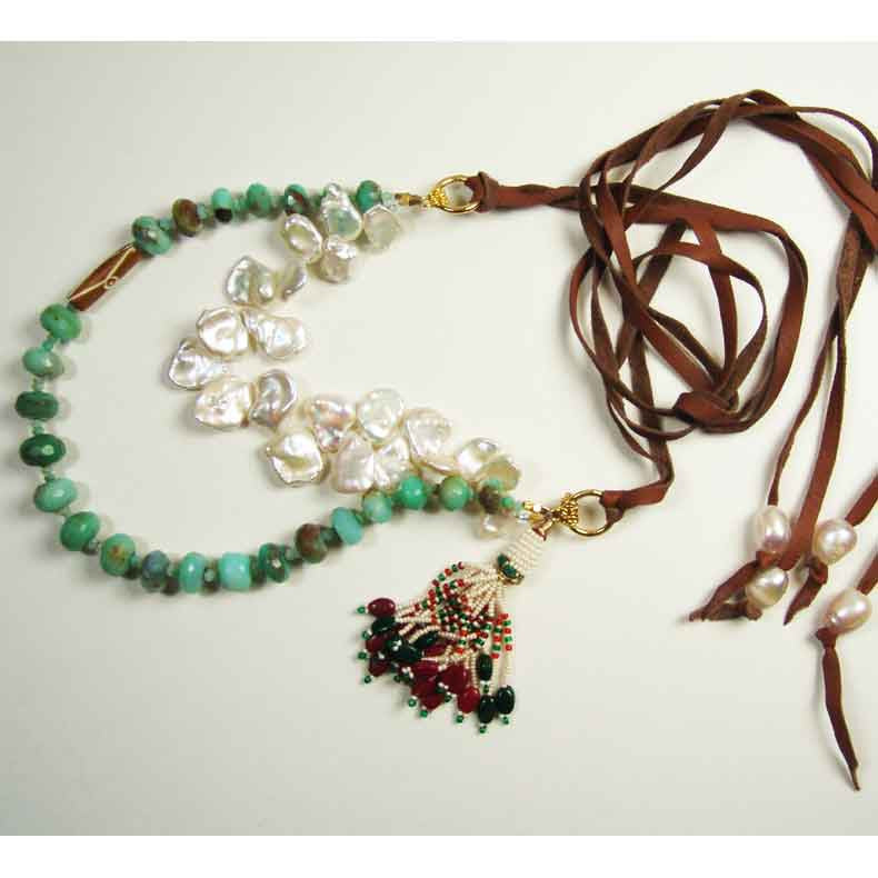 Susan Anderson Peruvian Opal and Pearl Necklace 824 Artistic
