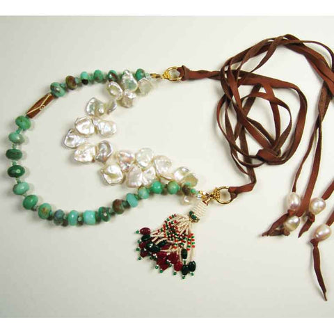 Susan Anderson Peruvian Opal and Pearl Necklace 824, Artistic Artisan Designer Jewelry