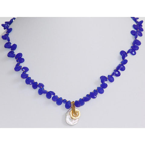 Susan Anderson Sapphire Colored Chalcedony and Keishi Pearl and Gold Charm Pendants Necklace 930