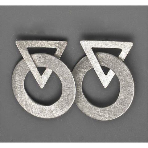 Suzanne Linquist Red Circle Metals Earrings 7E60, Artistic Artisan Designer Jewelry