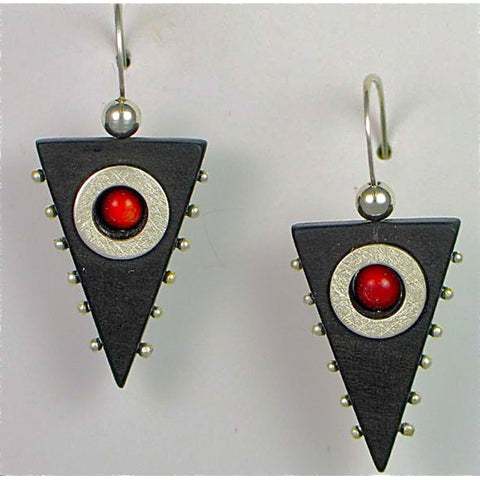 Suzanne Linquist Red Circle Metals Earrings 9E1, Artistic Artisan Designer Jewelry