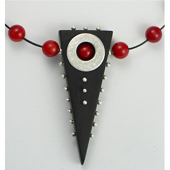 Suzanne Linquist Red Circle Metals Necklace 9N1, Artistic Artisan Designer Jewelry