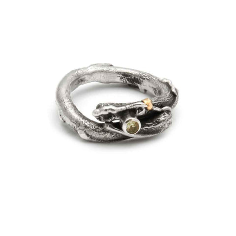 Tamara Kelly Designs Fused Twig Ring with Stone TKL R5 Wearable Art Jewelry