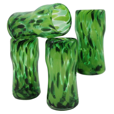 The Furnace Glassworks Everyday Glasses EVRY4 Shown In Green Four Piece Set Functional Artisan Handblown Art Glass Glasses