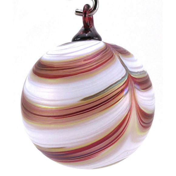 The Furnace Glassworks Ribbon Ornament Shown In Cranberries And Cream Artisan Handblown Art Glass Ornaments