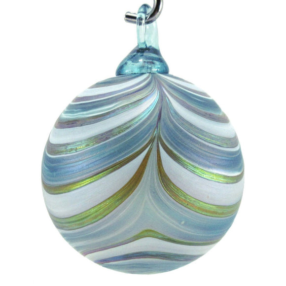 The Furnace Glassworks Ribbon Ornament Shown In Glacier Artisan Handblown Art Glass Ornaments