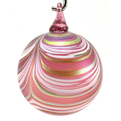 The Furnace Glassworks Ribbon Ornament Shown In Punch Pink Artisan Handblown Art Glass Ornaments