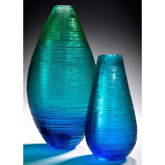 The Furnace Glassworks Shimmer Cocoon And Hive Vases Shown In Blue Functional Artisan Handblown Art Glass Vases