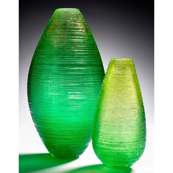 The Furnace Glassworks Shimmer Cocoon And Hive Vases Shown In Green Functional Artisan Handblown Art Glass Vases