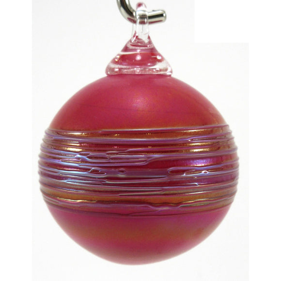 The Furnace Glassworks Shimmer2 Ornament Shown In Garnet Artisan Handblown Art Glass Ornaments