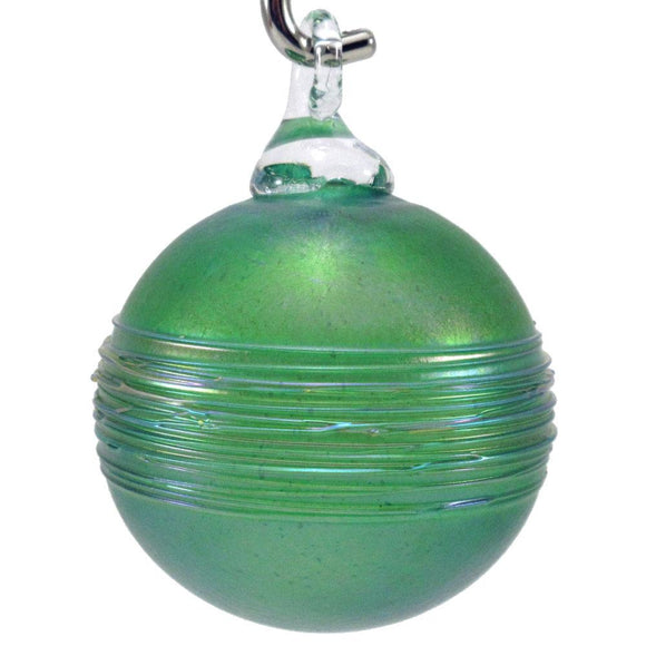The Furnace Glassworks Shimmer2 Ornament Shown in Firefly Artisan Handblown Art Glass Ornaments