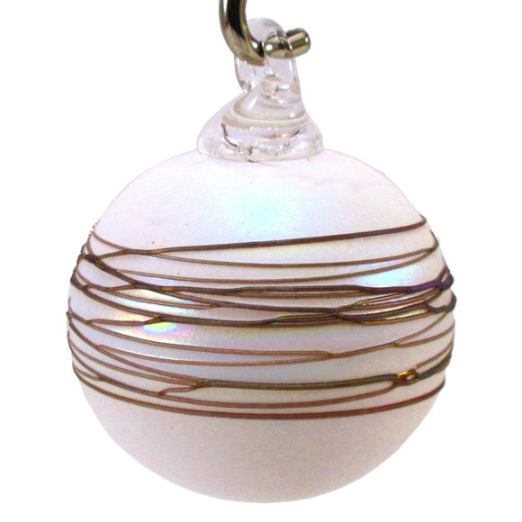 The Furnace Glassworks Shimmer2 Ornament Shown in Ivory Artisan Handblown Art Glass Ornaments