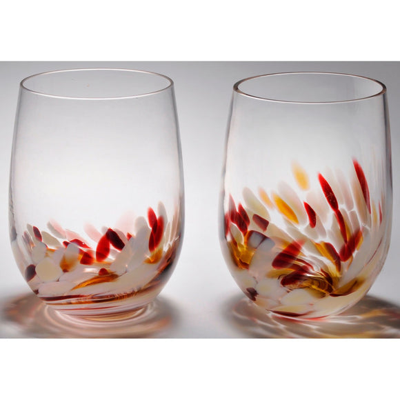 The Furnace Glassworks Vino Breve Glasses Shown In Almond Four Piece Set Functional Artisan Handblown Art Glass Glasses