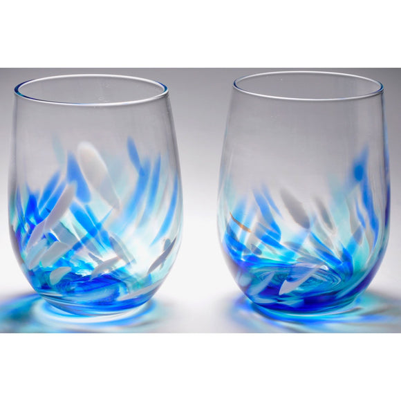 The Furnace Glassworks Vino Breve Glasses Shown In Blue Functional Artisan Handblown Art Glass Glasses