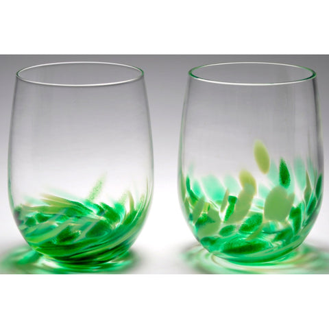 The Furnace Glassworks Vino Breve Glasses Shown In Green Four Piece SetFunctional Artisan Handblown Art Glass Glasses