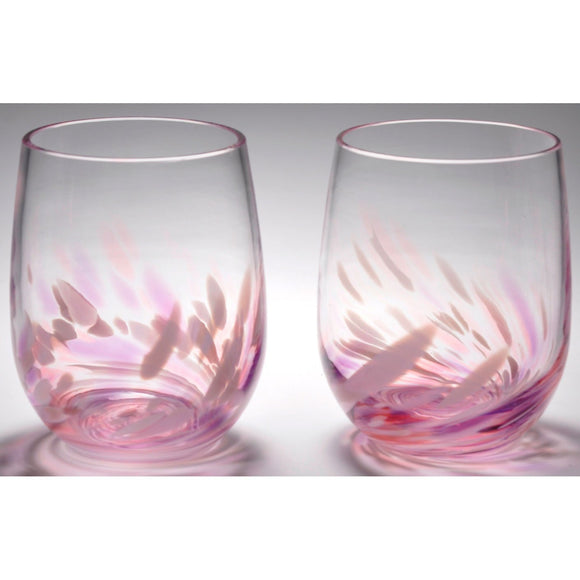 The Furnace Glassworks Vino Breve Glasses Shown In Rose Violet Four Piece Set Functional Artisan Handblown Art Glass Glasses