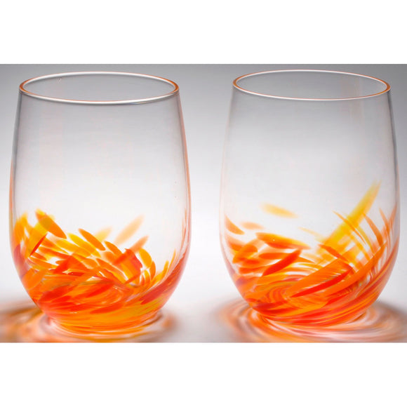The Furnace Glassworks Vino Breve Glasses Shown in Red Orange four Piece Set Functional Artisan Handblown Art Glass Glasses