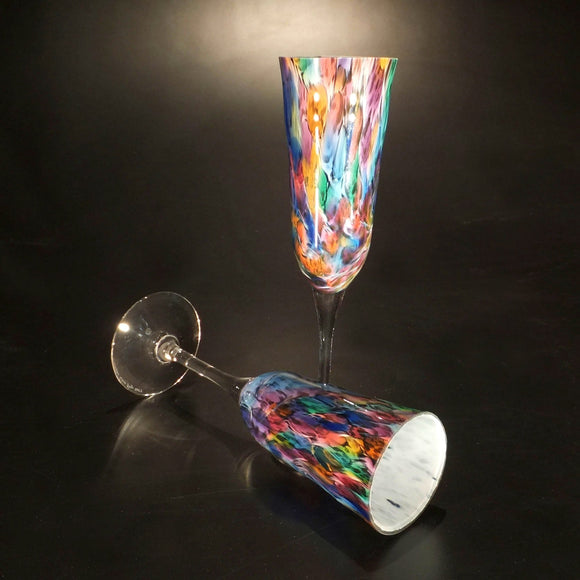 The Glass Forge Champagne Glass Shown In Rainbow Frit Artistic,, Functional Artisan Handblown Art Glass Barware Drinkware, Handmade in the USA, Handmade in the USA