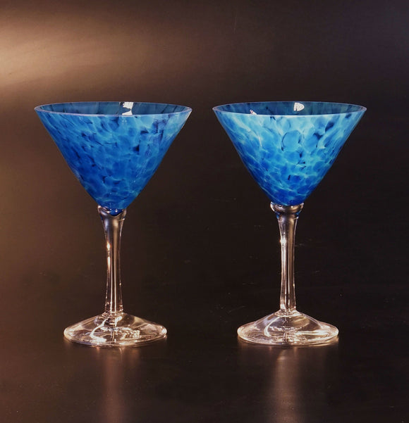The Glass Forge Martini Glass Shown In Crater Artistic,, Functional Artisan Handblown Art Glass Barware Drinkware, Handmade in the USA, Handmade in the USA