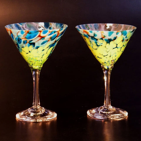 The Glass Forge Martini Glasses Shown In ET Crater Artistic,, Functional Artisan Handblown Art Glass Barware Drinkware, Handmade in the USA, Handmade in the USA