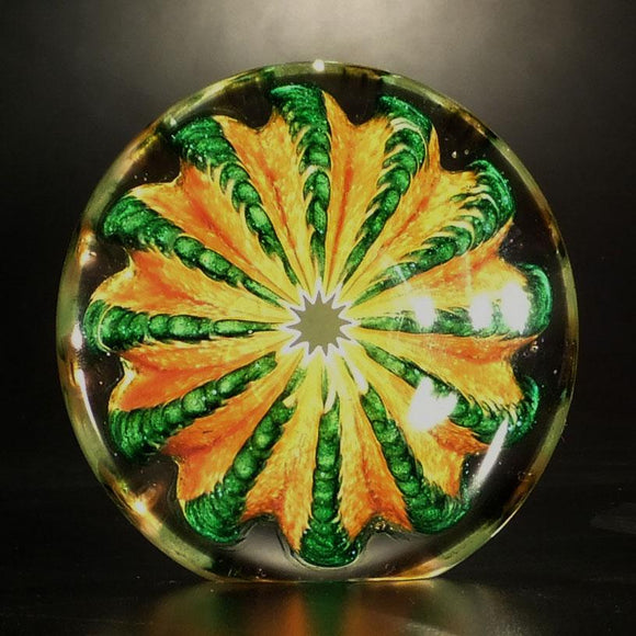 The Glass Forge Nateweight Paperweight Shown In Topaz And Aventurine Artistic Functional Artisan Handblown Art Glass Paperweights