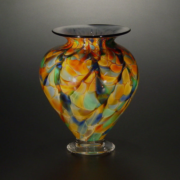 The Glass Forge Squat Vase Shown In ET Rainbow DD Artistic Functional Artisan Handblown Art Glass Vases