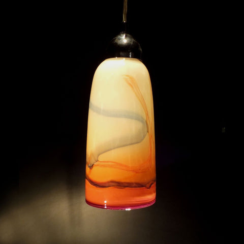 The Glass Forge Straight Taper Pendant Light Shown In Totally Peach Artistic Functional Artisan Handblown Art Glass Pendant Lights