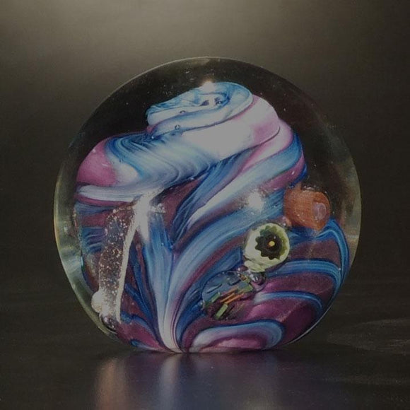 The Glass Forge Undersea Paperweight Shown In Purple And Blue Artistic Functional Artisan Handblown Art Glass Paperweights