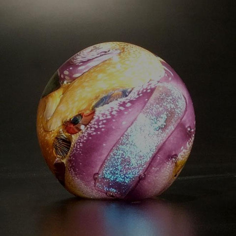 The Glass Forge Undersea Paperweight Shown in Purple And Topaz Artistic Functional Artisan Handblown Art Glass Paperweights