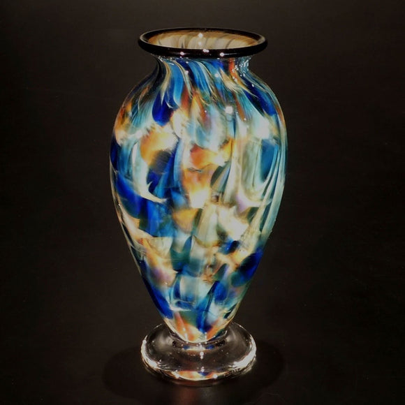 The Glass Forge Vase Shown In ET Blue Sun DD Artistic Functional Artisan Handblown Art Glass Vases