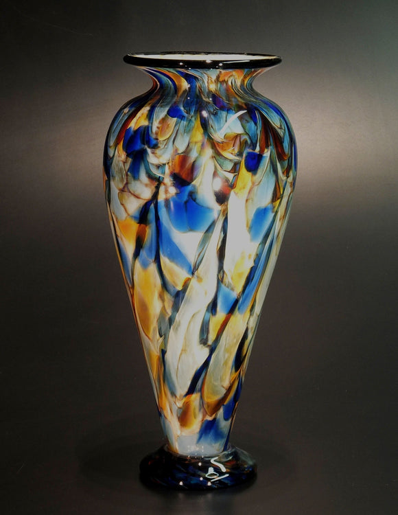 The Glass Forge Vase Shown In ET Blue Sun DD XL Artistic Functional Artisan Handblown Art Glass Vases