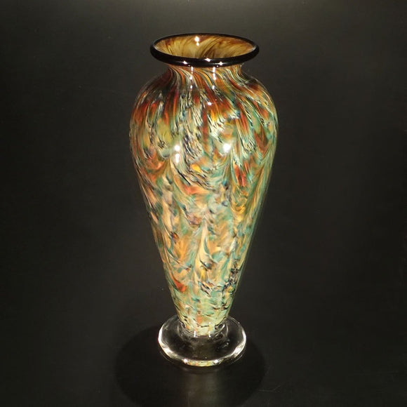 The Glass Forge Vase shown in Yosemite And Bronze Artistic Functional Artisan Handblown Art Glass Vases