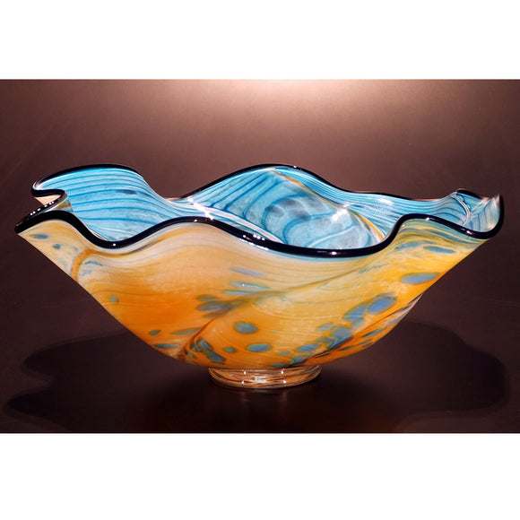 The Glass Forge Wave Bowl Shown In Nile And Turquoise 1 Artistic Functional Artisan Handblown Art Glass Bowls