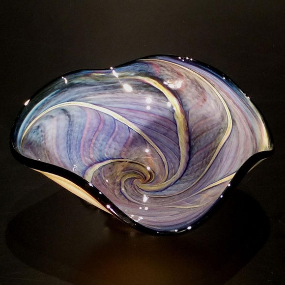 The Glass Forge Wave Bowl Shown In Topaz And Blue Feather Artistic Functional Artisan Handblown Art Glass Bowls