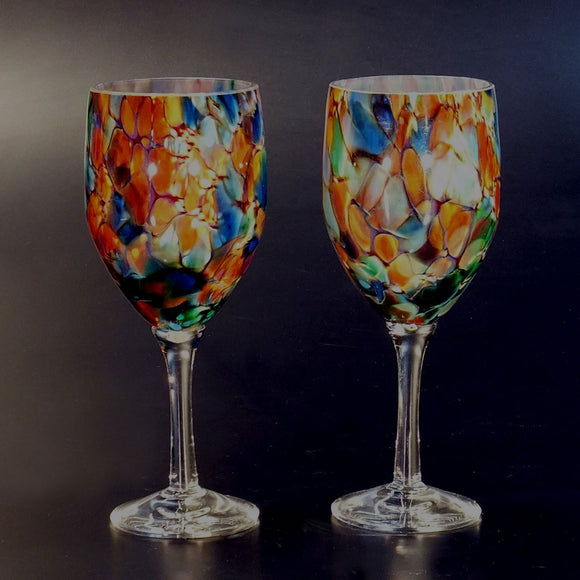 The Glass Forge Wine Glass (Set Of Two) Shown In ET Rainbow Artistic,, Functional Artisan Handblown Art Glass Barware Drinkware, Handmade in the USA, Handmade in the USA