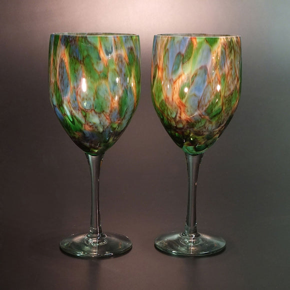 The Glass Forge Wine Glass Shown in ET Teal  Artistic,, Functional Artisan Handblown Art Glass Barware Drinkware, Handmade in the USA, Handmade in the USA