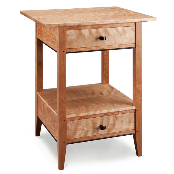 Thomas William Furniture Birch Cherry and Wenge Wood Two Drawer End Table Artistic Artisan Designer End Tables